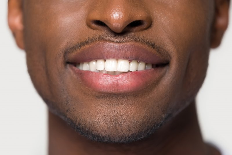 up-close view of smile after seeing cosmetic dentist in Sarasota